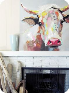 My House of Giggles: Living Room Refresh (a DIY Kilim / Aztec Rug and an abstract Cow Painting) #Arts Design