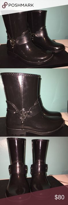 Michael Kors rainboots These are brand new without box. Shiny black with silver tone hardware. Very cute!! MICHAEL Michael Kors Shoes Winter & Rain Boots