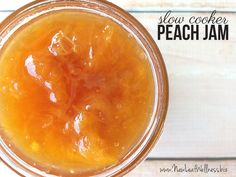 Slow Cooker Peach Jam Recipe. Only four ingredients and so delicious. Perfect recipe!