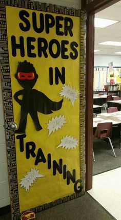 25 Superhero Classroom Theme Ideas is part of Superhero classroom theme - Thiking about doing a superhero classroom theme WeAreTeachers has you covered Read on for super classroom decorations, tips, and tricks Summer Door Decorations, School Decorations, School Themes, Super Hero Decorations, Superhero Classroom Theme, New Classroom, Classroom Themes, Superhero Bulletin Boards, Superhero Door Decorations Teachers