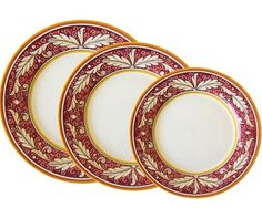 """FLOREALE ROSSO DINNER PLATE: 11"""" (28cm) Diameter.    This Dinnerware pattern is hand painted in Deruta."""
