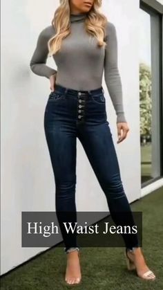 Teen Fashion Outfits, Office Outfits, Casual Outfits, Fashion Tips, Types Of Jeans, Type Of Pants, High Jeans, High Waist Jeans, Trendy Jeans