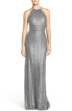Amsale 'Chandler' Sequin Tulle Halter Style Gown available at #Nordstrom