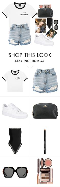 """""""NOT HEARTBROKEN"""" by loveyourselfiee ❤ liked on Polyvore featuring Topshop, NIKE, Coach, Norma Kamali, NYX, Gucci and Charlotte Tilbury"""