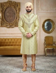 Don't Just Pin Get It In Your Wardrobe. Jayashree Garments We Build Custom Bespoke As Well As Made to Measure Garments Suits, Blazer's, Royal Sherwanis And Our Speciality Is Mass Production Of School/College's Uniforms Wedding Dresses Men Indian, Wedding Dress Men, Wedding Men, Green Wedding, Mens Sherwani, Sherwani Groom, Wedding Sherwani, Pista Green Colour, Indian Groom Wear