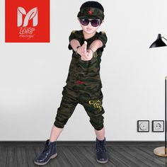 2017 new boy military wind camouflage short sleeve T shirt shorts two sets of children's children's clothing suit #Affiliate