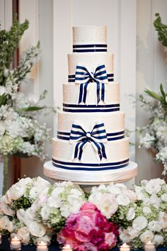 Awesome A Statement Making Navy And White Striped Cake With Bow Detailing Made For  An Eye