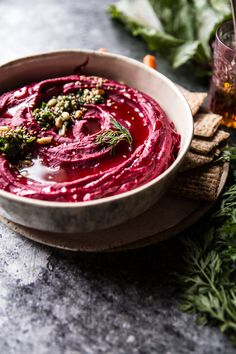 Roasted Beet Hummus- colorful, healthy, quick, easy & delicious, this pretty hummus is perfect as an appetizer, snack or lite lunch. @ halfbakedharvest.com