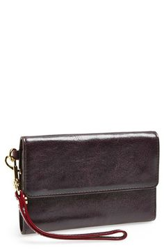 MZ Wallace 'Christoff' Leather Wristlet available at #Nordstrom. Another trifold. Awesome layout. Boring design. $175