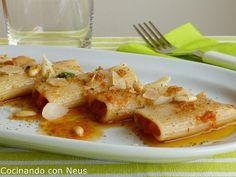 Cocinando con Neus: Rigatoni con chistorra, albahaca y piñones