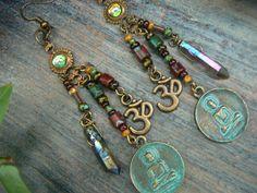 spiritual earrings zen earrings buddha earrings pendant earrings ohm earrings in yoga boho gypsy style