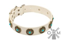 White Leather Dog Collar with Blue Stones model by OldMillStore