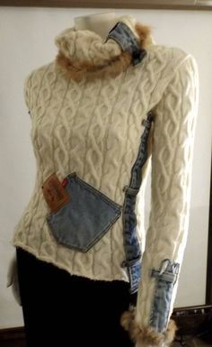 Very unique denim patchwork turtle neck sweater is thick & warm. The imperfections built the character of this funky design. Take this skiing! Size S (will fit pre-teen size 12/14) Measures 32 bust, 15 long Fabric is a heavy acrylic