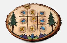 Handmade Tic-Tac-Toe Board Handmade Game by TheCreativeAndCrafty
