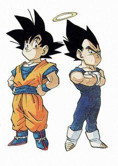 Goku and Vegeta chibi Dragon Ball Z, Chibi Goku, D Mark, Martial, Fanart, Illustrations, Akira, Manga Anime, Character Design