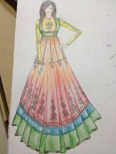 Fashion Ilustration Sketches Indian Anarkali Suits 24 New Ideas Fashion Design Books, Fashion Show Themes, Fashion Design Drawings, Fashion Sketches, Dress Illustration, Fashion Illustration Dresses, Fashion Illustrations, Anarkali Dress, Anarkali Suits