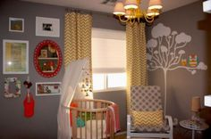 Eye Catching Baby Crib Design Play with Hues: Eclectic Nursery With A Round Bed Ideal For Both Boys And Girls And Brown Wall With Tree Wall Mural ~ FreeSharing Kids Room Inspiration Nursery Room Decor, Nursery Design, Kids Bedroom, Nursery Bedding, Nursery Ideas, Room Ideas, Round Baby Cribs, Round Beds, Yellow Kids Rooms