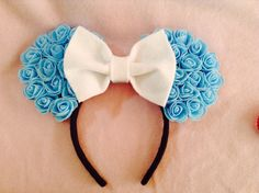 Minnie Mouse Ears Elsa Blue  by CrazyBeautifulCreati on Etsy