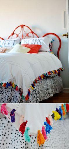 Tassel-Fringed Bed Sheet   Duvet Cover Anthropologie Hack Ideas by DIY Ready at http://diyready.com/diy-decor-anthropologie-hacks/
