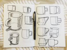 Some tighter coffee mugs/espresso cups. #id #industrial #product #design #sketch #idsketch