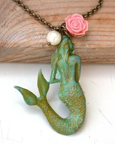 Little Mermaid Necklace #necklace #jewelry #mermaid #green $29.00