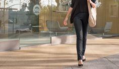 Yoga Pants dress pants girl leaving an office in SOMA, San Francisco