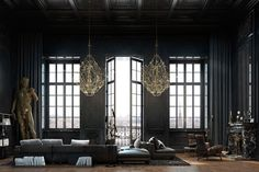 Located in central Paris, France, this historic 2-storey apartment was designed by Iryna Dzhemesiuk and Vitaly Yurov as a dramatic melding of classic details and contemporary design. The beautiful black...