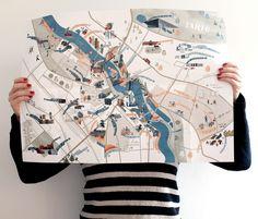 Map of tartu for the urban connoisseur. on behance maps логотип. Travel Illustration, Flat Illustration, Design Graphique, Map Design, Map Art, Travelers Notebook, Plans, Graphic Design Inspiration, Zine