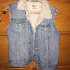 Denim sleeveless jacket! Only worn it twice. Good condition. I bought it at the store call zumiez. Really warm and soft from the inside. So please don't be afraid to make an offer  Zumiez  Jackets & Coats