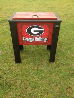 Georgia Bulldogs painted wood cooler by CoolerTime on Etsy