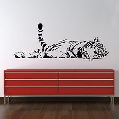 Parkins Interiors - Sleeping Tiger Wall Sticker Decal Art Big Cat Graphic Mural Transfer Large White Large: Amazon.co.uk: Kitchen & Home