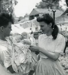 """The author of the famous poem, """"Song for a Fifth Child,"""" aka """"Babies Don't Keep,"""" Ruth Hulburt Hamilton with first child"""