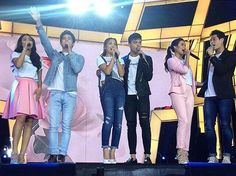 """This is JaDine (James Reid and Nadine Lustre), KathNiel (Kathryn Bernardo and Daniel Padilla), and LizQuen (Liza Soberano and Enrique Gil) singing """"Buko"""" by Jireh Lim during the final production number of It's Showtime Kapamilya Day last September 26, 2015 at the Smart Araneta Coliseum. These three biggest Kapamilya love teams are dressed casually with white #KiligKapamilya shirts. They're very pretty and handsome, indeed. :-) Child Actresses, Child Actors, Inigo Pascual, Half Filipino, Daniel Johns, Enrique Gil, Daniel Padilla, Star Magic, John Ford"""