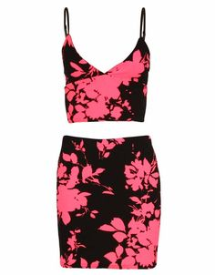 TWO PIECE NEON PINK FLORAL PRINT CROP TOP AND MINI SKIRT £ 11.95