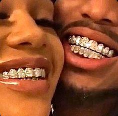 Bling for the gram ✨ . Cute Black Couples, Black Couples Goals, Cute Couples Goals, Hot Couples, Boujee Aesthetic, Badass Aesthetic, Black Girl Aesthetic, Couple Goals, Girl Grillz