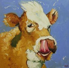 Cow painting 584 20x20 inch animal original oil painting by RozArt, $185.00