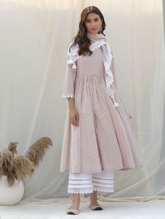 Pastel Pink Polka Printed Cotton Kurta with White Palazzo and Scarf- Set of 3 Pakistani Fashion Casual, Pakistani Dresses Casual, Pakistani Dress Design, Indian Designer Outfits, Indian Outfits, Designer Dresses, Indian Designers, Designer Clothing, Party Wear Indian Dresses