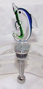 LS Arts Hand Blown Glass Dolphin Wine Stopper Cork by LS Arts. $13.67. Lovely piece for any wine bottle. Fits perfectly with any party. Artistic glass wine and bottle stopper. Comes gift boxed. Handmade art glass designs. This is a fun blue and green Hand Blown Glass Wine Stopper Cork. Measuring 5 inches tall, this lovely glass dolphin wine stopper will make any wine bottle more appealing.