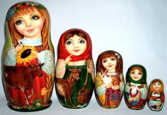 Exclusive quality 5 piece matryoshka nesting doll depicting Russian village girls in traditional clothing and such barnyard animals as cow, goat, rabbit, piglet, and poultry. Hand painted and lacquered by aprofessional artist in Russia. | eBay!