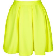 Topshop neon yellow pleated skirt Cute skirt, still has tag on, never been worn. Perfect condition, size 8 but would also fit a 6. Topshop Skirts Mini