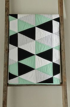 triangle quilts in black & white   mint and licorice :: a baby quilt.