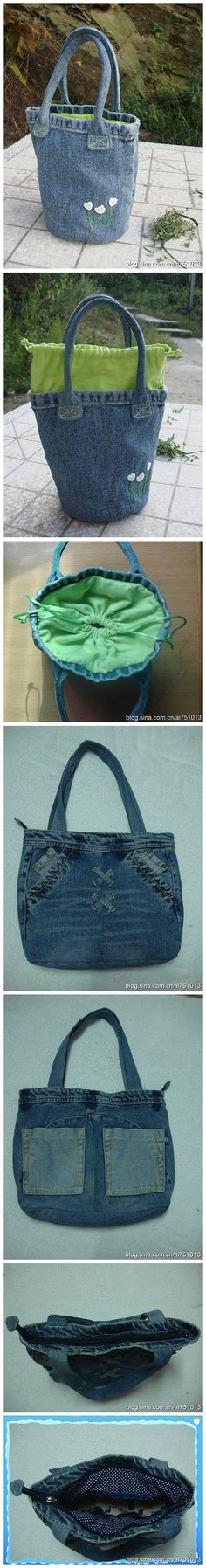 Denim bags  --  made from recycled jeans. This one is simply made from a pant leg and the interior holds items secured because of the pull string closure!