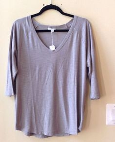 """NWT JAMES PERSE WOMEN'S SOLID """"SHADOW"""" COTTON/MODAL 3/4 SLEEVE TOP SIZE 3-$135 #JamesPerse #BasicTee"""