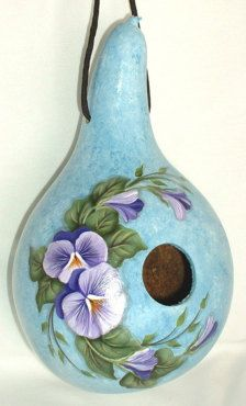 Pansies Gourd Birdhouse Hand Painted Gourd by FromGramsHouse Decorative Gourds, Hand Painted Gourds, Bird Houses Painted, Painted Birdhouses, Gourds Birdhouse, Deco Nature, Arts And Crafts, Diy Crafts, Gourd Crafts