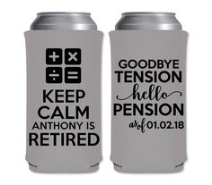 8.3oz Slim Can Coolers Accountant Math Teacher Retirement Party Favors | Keep Calm I'm Retired (7A) | Mich/Red Bull | by ThatCustomShop on Etsy #thatcustomshop