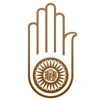 """Ahimsa Hand: The religious Ahisma hand symbol with a wheel on the palm symbolizes the Jain Vow of Ahimsa, meaning non-violence. The word in the middle is """"Ahimsa."""" The wheel represents the dharmacakra, to halt the cycle of reincarnation through the pursuit of truth."""
