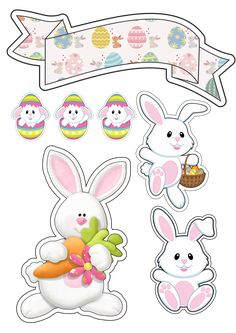 Easter Stickers, Diy Easter Decorations, Easter Printables, Easter Crafts, Easter Bunny, Cricut, Scrapbook Paper, Cake Toppers, Hello Kitty