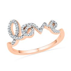 "1/6 CT. T.W. Diamond Cursive ""love"" Ring in 10K Rose Gold - View All Rings - Zales"