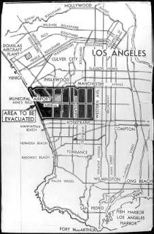 """All enemy aliens living in the above indicated evacuation area, an area thick with defense plants, must move by Feb. 24, the United States ordered yesterday. Five miles wide, the zone extends 10 miles inland to Western Ave.""--caption on photograph :: Japanese American Relocation Digital Archive, 1941-1946"