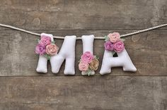 Felt name banner Pastel flowers nursery decor personalized gift baby felt letters baby name garland made to order baby room decor Baby Name Banners, Felt Name Banner, Baby Name Signs, Felt Letters, Baby Names, Felt Diy, Felt Crafts, Fabric Crafts, Pastel Flowers